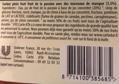 Carte d'Or Sorbet Plein Fruit Sorbet fruit de la passion le bac de 1000 - Ingrédients