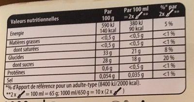 Carte d'Or Sorbet Plein Fruit Sorbet fruit de la passion le bac de 1000 - Informations nutritionnelles