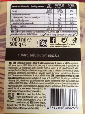 Carte D'or Les Authentiques Glace Caramel Fleur de Sel 1l - Ingredientes - fr