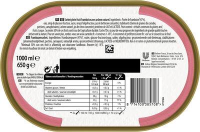 Sorbet Framboise, Plein Fruit - Ingrediënten - nl