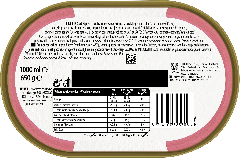 Sorbet Framboise, Plein Fruit - Voedingswaarden - fr