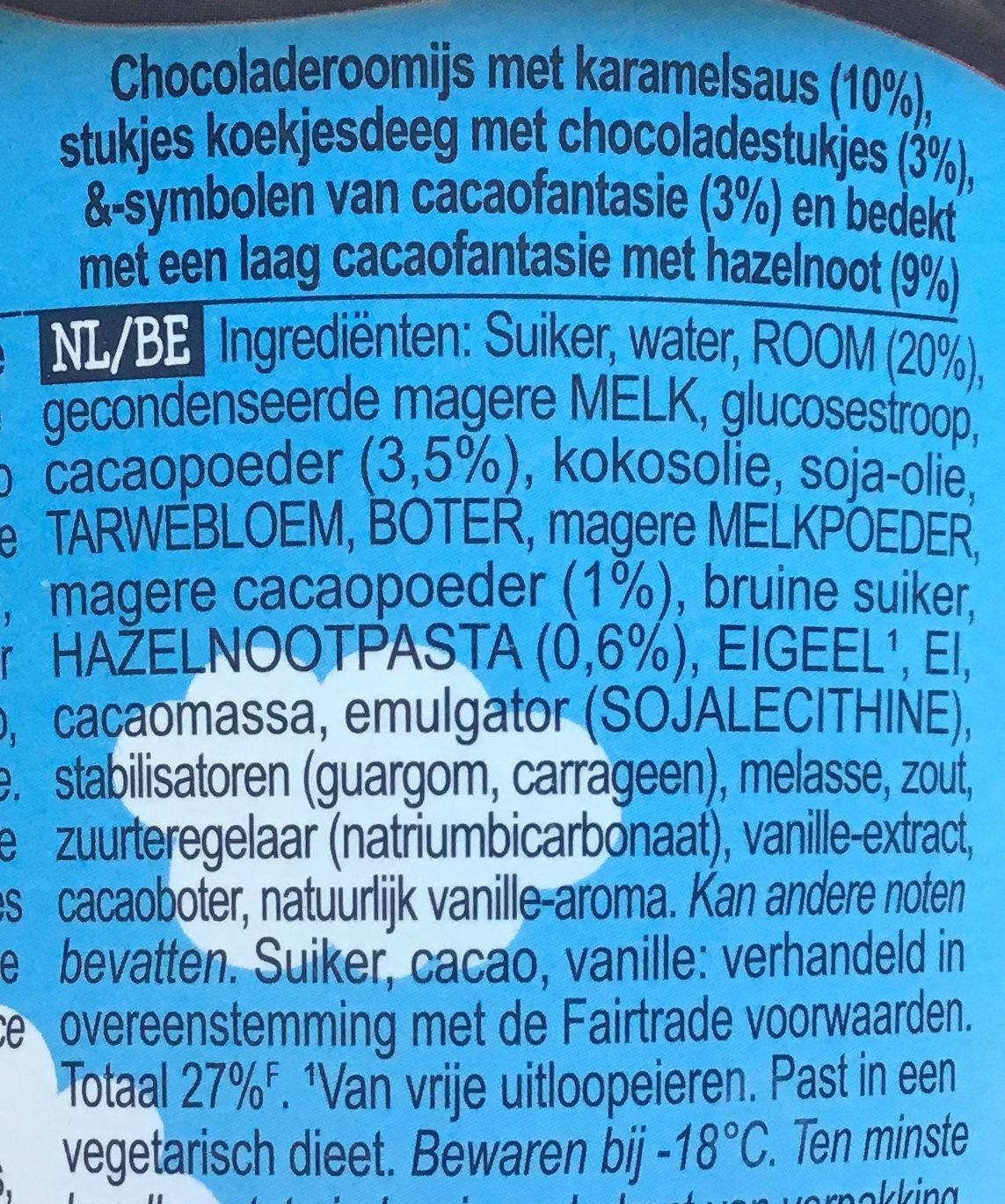 Ben & Jerry's Glace Pot Topped Chocolate Caramel Cookie Dough 470ml - Ingrediënten - nl