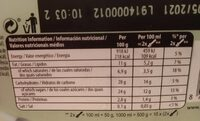 Helado Menta Chocolate - Información nutricional