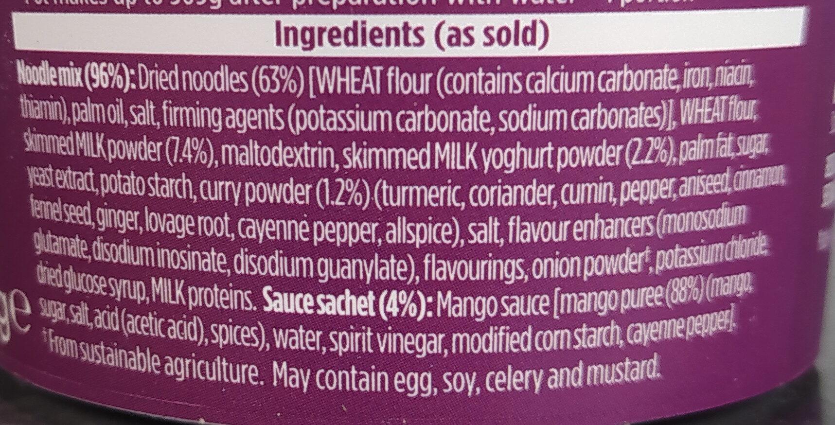 Pot Noodle Chicken Korma - Ingredients - en