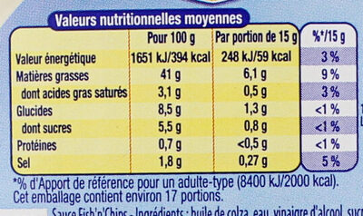 Amora Sauce Fish'n'Chips Flacon Souple 251g - Nutrition facts - fr