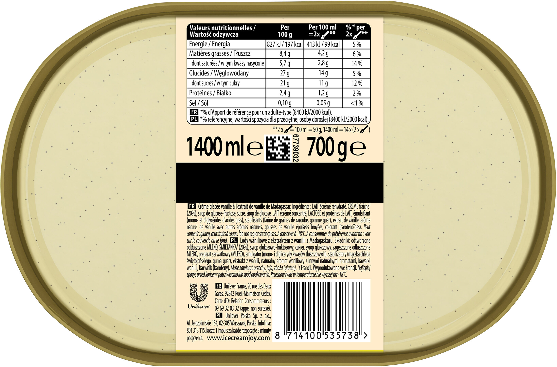 Carte D'or Les Authentiques Glace Vanille de Madagascar 1,4l - Valori nutrizionali - fr