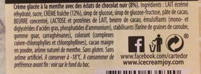 crème glacée menthe éclats chocolat noir - Ingrédients
