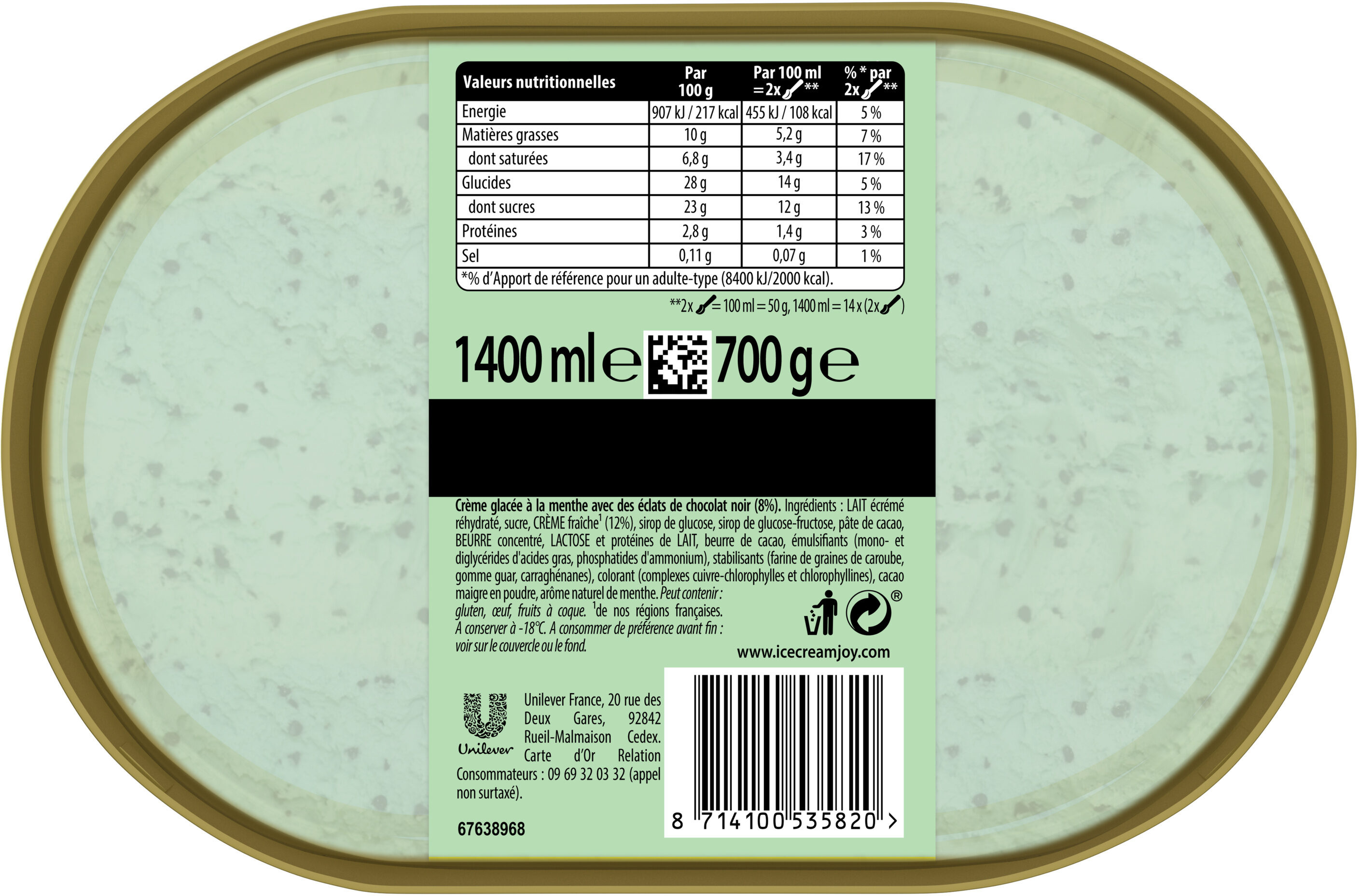 Carte D'or Les Authentiques Glace Menthe Chocolat 1.4l - Nutrition facts - fr