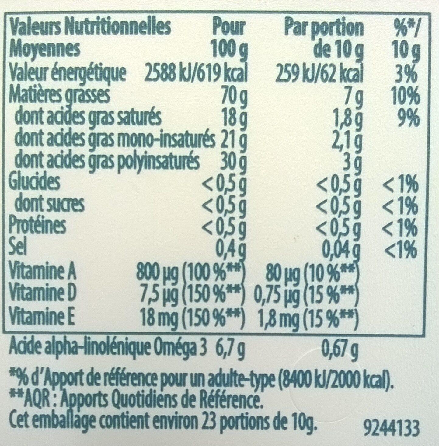 100% végétal avec huiles de coco & d'amande - Informations nutritionnelles - fr