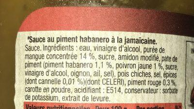 Sauce jamaican - habanero - Ingrédients - fr