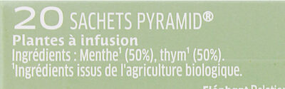 Mon Infusion Bio Menthe Thym - Ingredients - fr