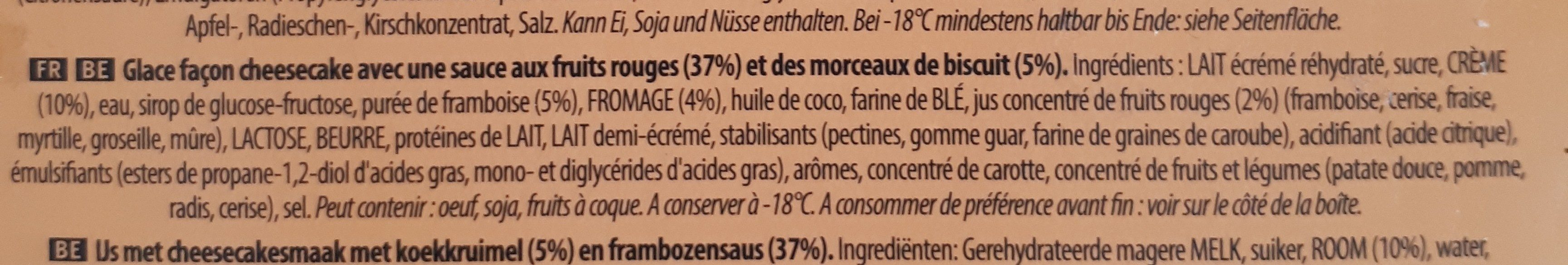 Carte D'or Les Verrines Glace Cheesecake Framboise 60ml 4 pièces - Ingrediënten - fr