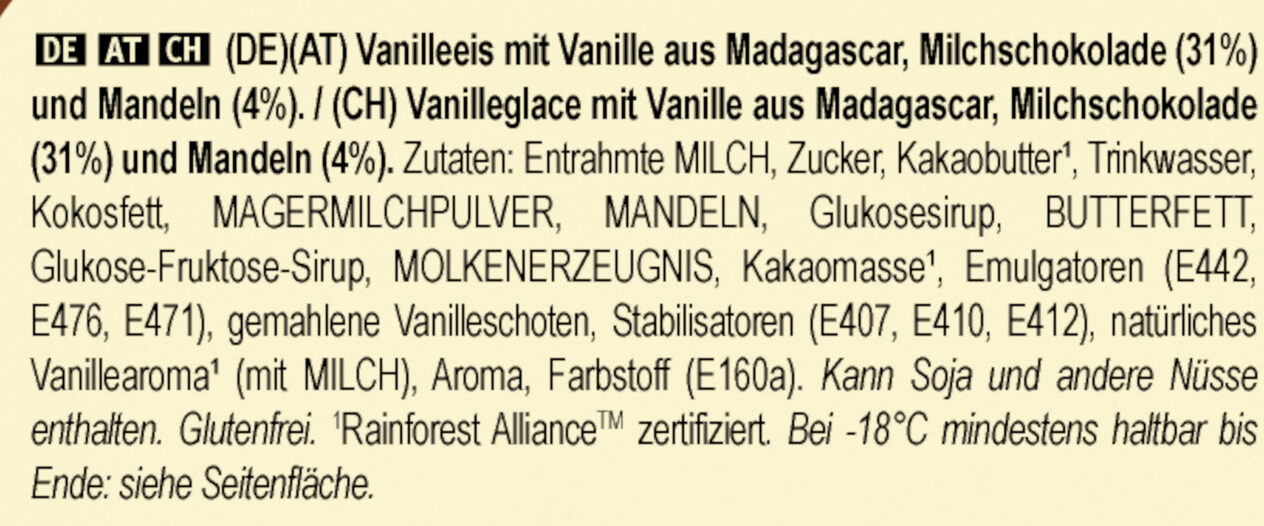 MAGNUM Glace Bâtonnet Mini Amande 6x55ml - Zutaten - de