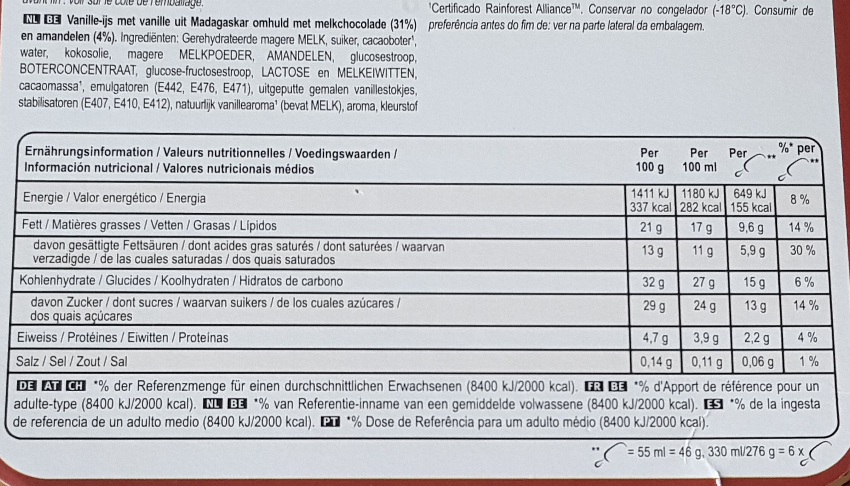 MAGNUM Glace Bâtonnet Mini Amande 6x55ml - Voedingswaarden - fr