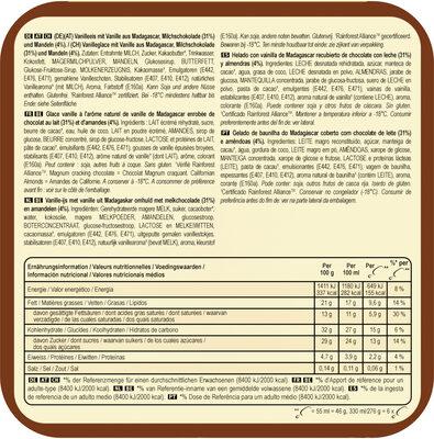 Batonnet Glace Amande x 6 330 ml - Información nutricional - fr