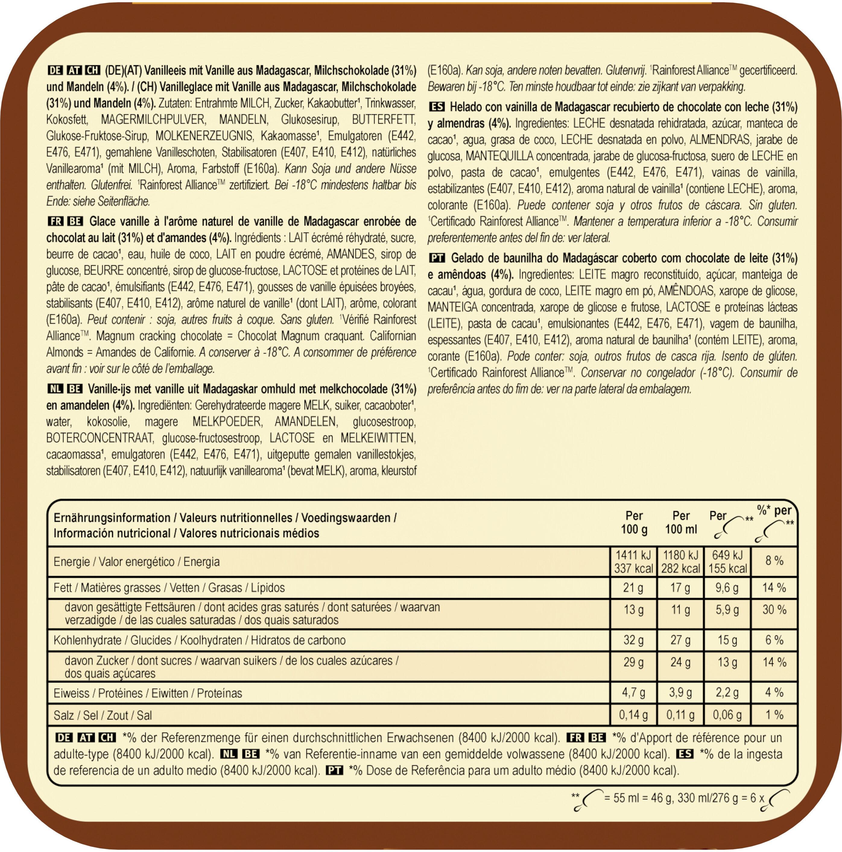 Batonnet Glace Amande x 6 330 ml - Voedingswaarden - fr