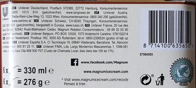 MAGNUM Glace Bâtonnet Mini Amande 6x55ml - Recyclinginstructies en / of verpakkingsinformatie - fr
