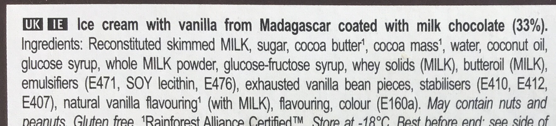 Magnum Batonnet Glace Classic x6 330ml - Ingredients