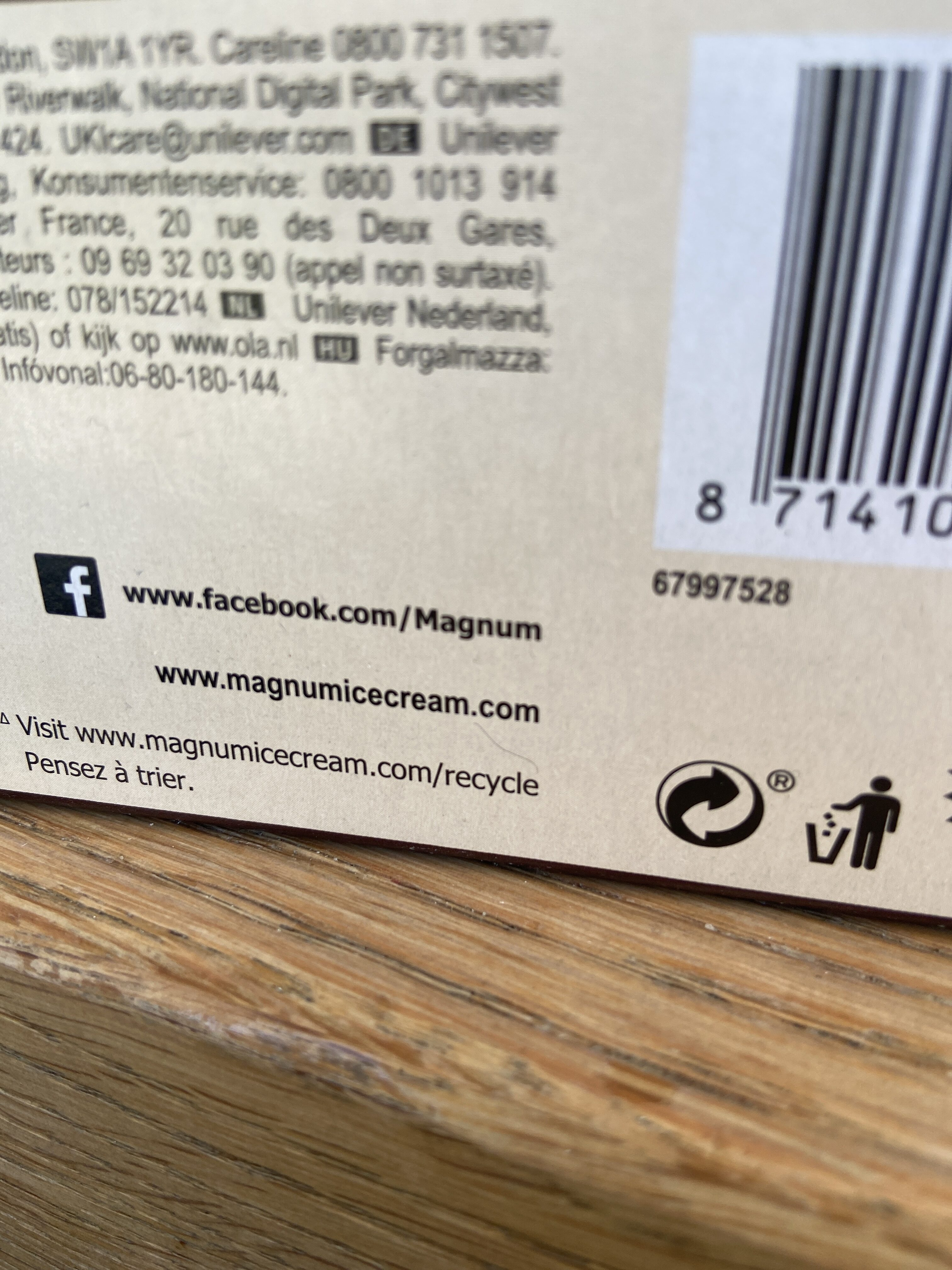 Magnum Glace Bâtonnet Mini Classic x6 330ml - Recycling instructions and/or packaging information - fr