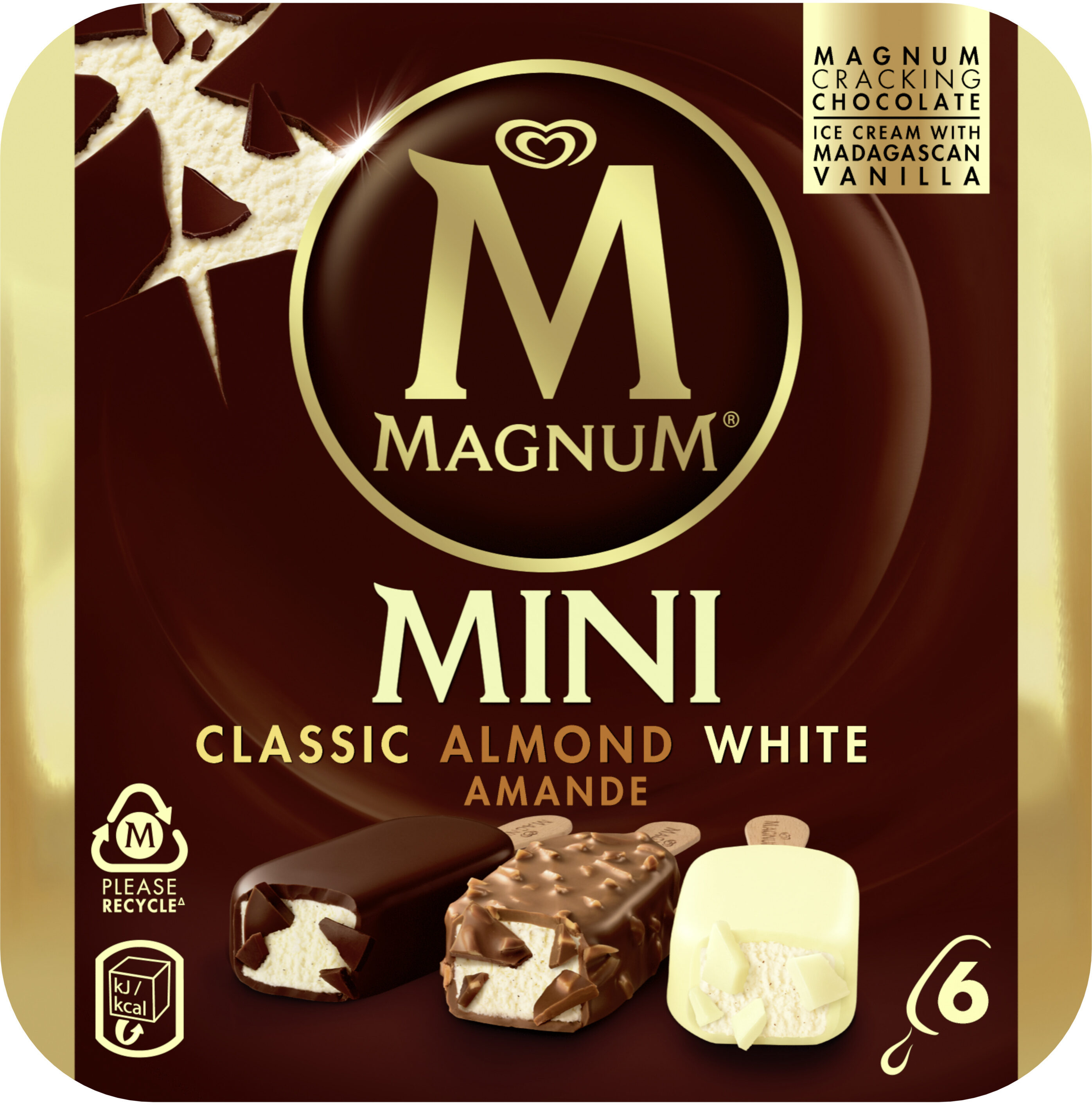 Magnum Batonnet Glace Mini Classic Amande Chocolat Blanc x 6 330 ml - Produit - fr