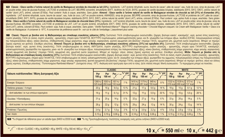 Magnum - Mini classic, almond, white - Ingredientes - fr