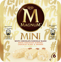 Magnum Batonnet Glace Chocolat Blanc, Blanc Amande x6 330ml - Product - fr