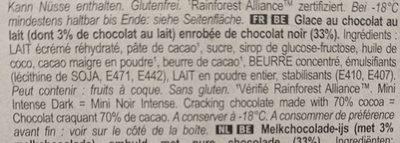 Magnum Glace Bâtonnet Mini Chocolat Noir Intense 6x55ml - Zutaten - fr