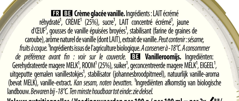 Glace Bio Vanille Douce de Sava - Ingredients - fr
