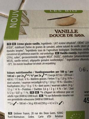 Les bios vanille douce sava - Voedigswaarden