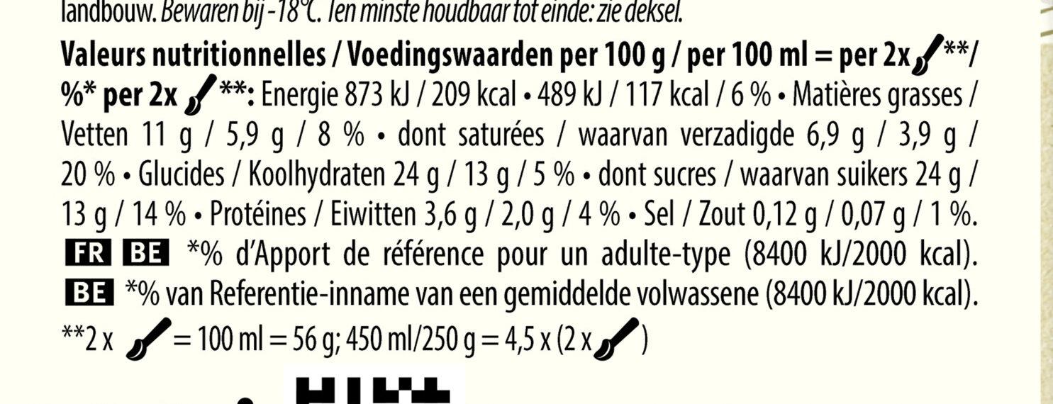 Glace Vanille douce de Sava, Les Bio - Voedingswaarden