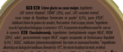 Carte D'or Glace Cacao Corsé du Pérou 450ml - Ingredients - fr