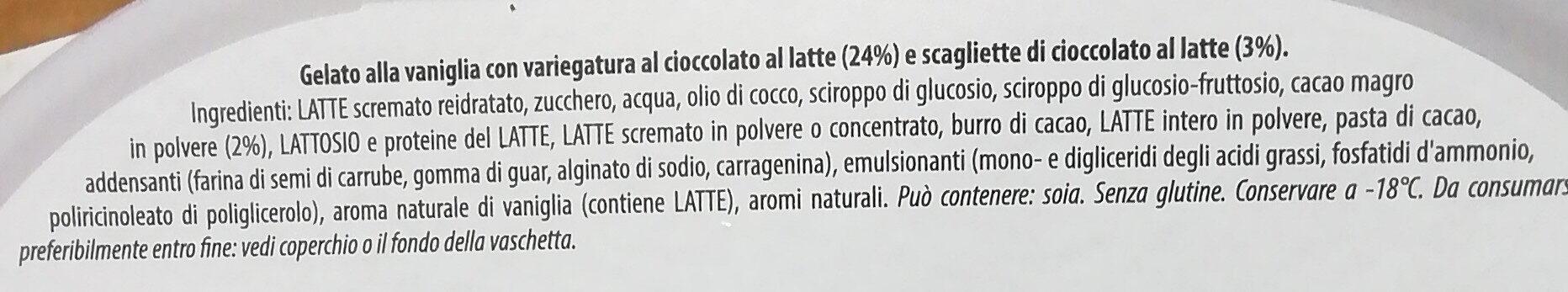 Gelato alla vaniglia con variegatura al cioccolato al latte (24%) e scagliette di cioccolato al latte - Ingrédients