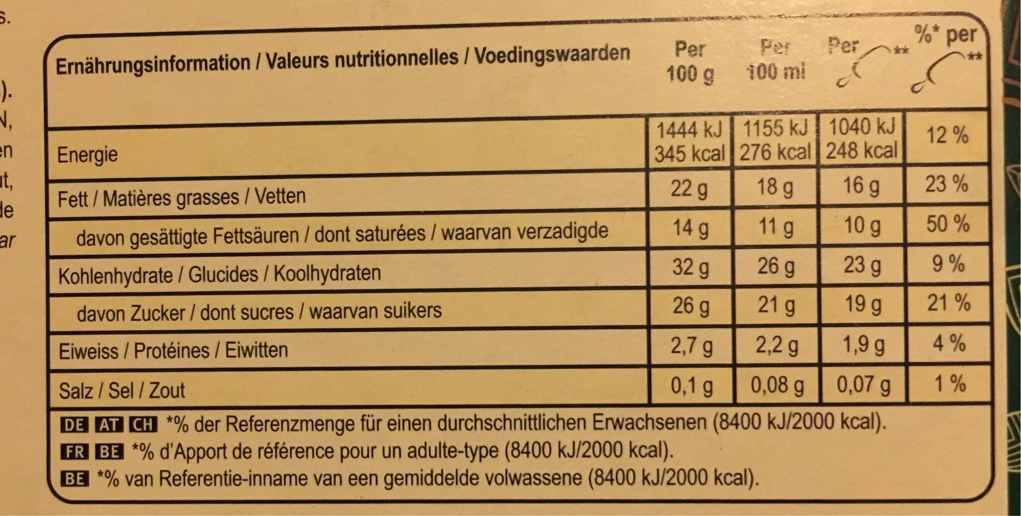 Magnum Vegan Almond - Nutrition facts - en