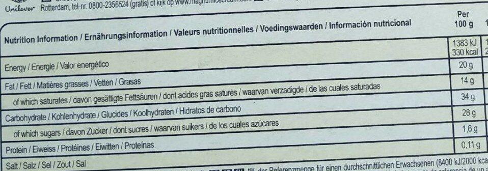 Vegan classic ice cream - Nutrition facts - en