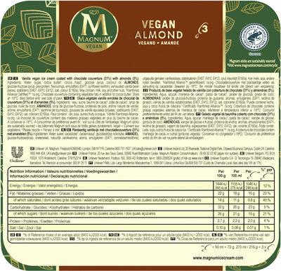 Magnum Glace Bâtonnet Amande Vegan 3x90ml - Product - en