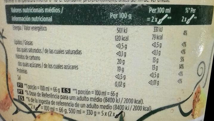 Sorbete Piña - Informations nutritionnelles - es