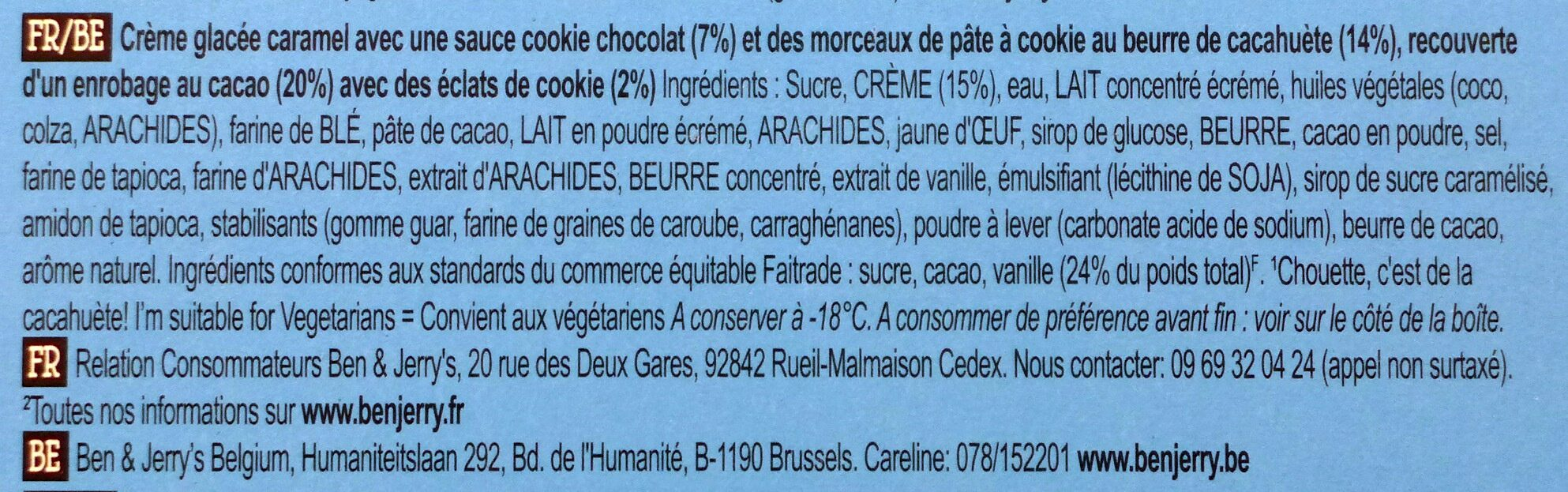 Ben & Jerry's Glace Wich Sandwich On The Dough 267ml - Ingredients