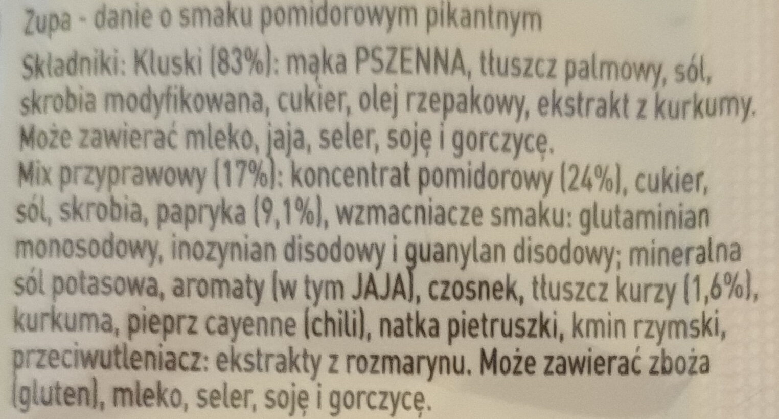 Nudle Pomidorowe pikantne - Ingrediënten - pl