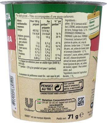 Knorr Pâtes Carbonara 71g - Nutrition facts - fr