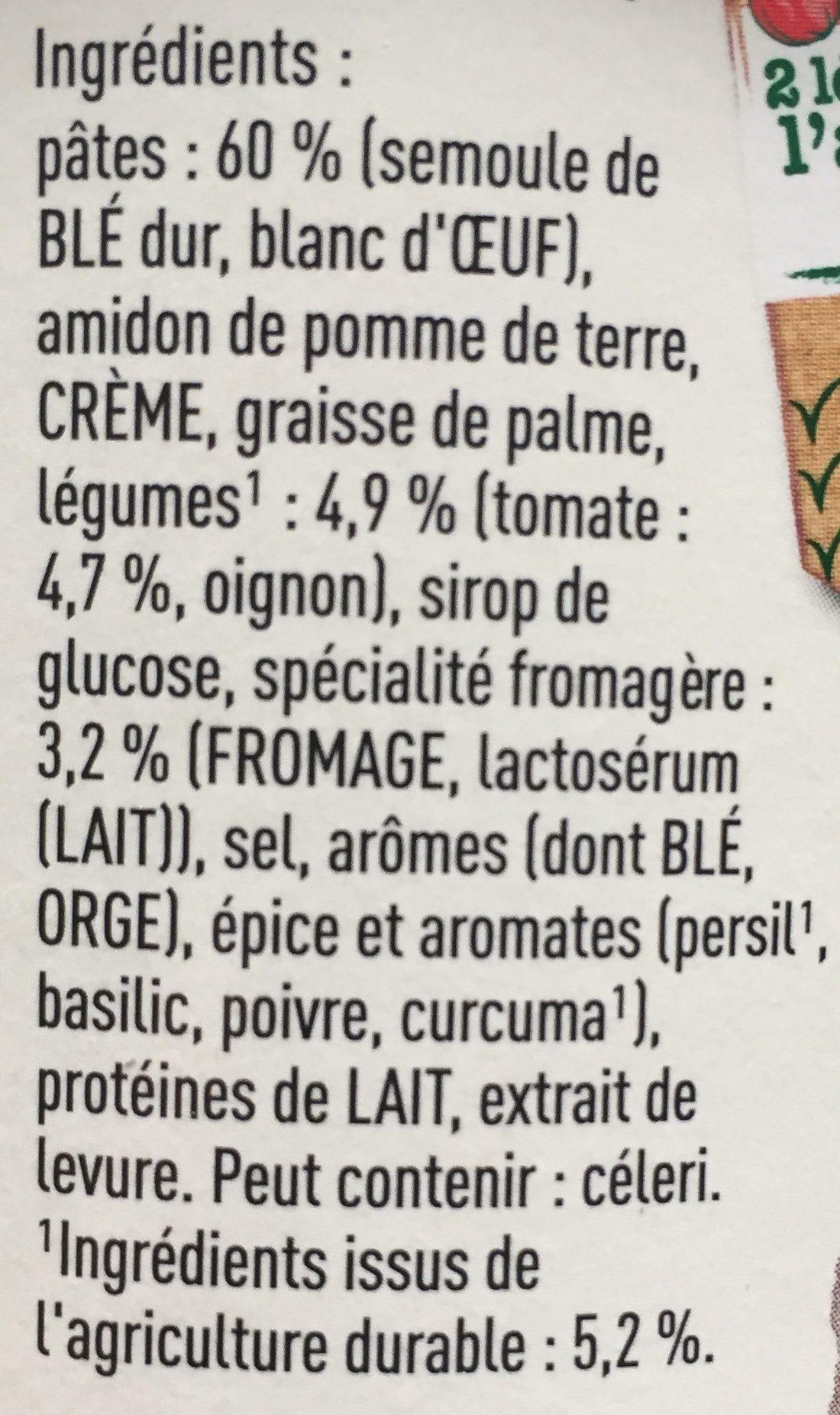 Knorr Pâtes Tomate et Fromage - Ingredients - fr