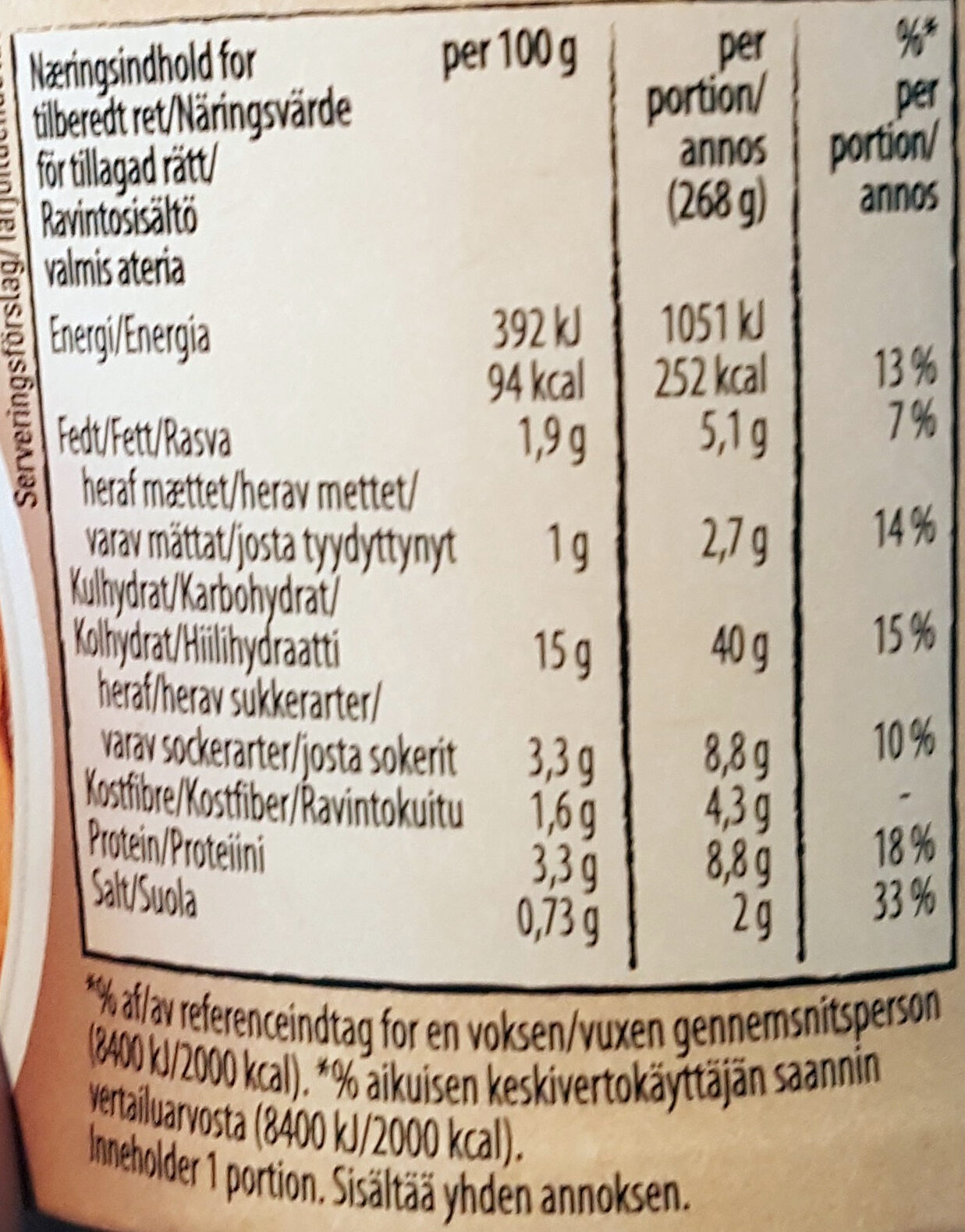Snack Pot Bolognese - Informations nutritionnelles - sv