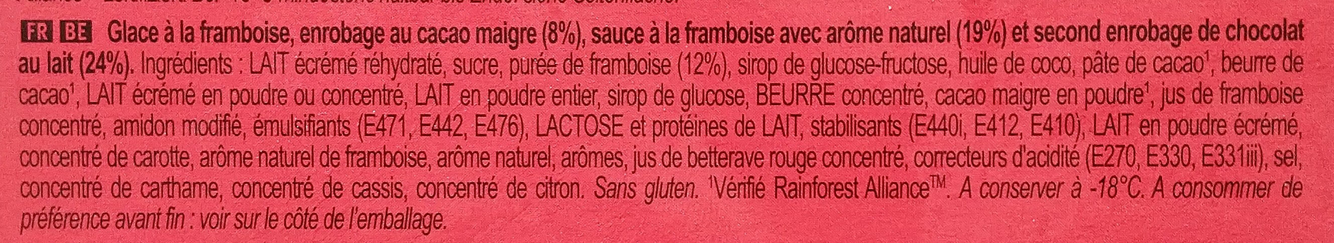 Magnum Batonnet Glace Double Framboise x4 352ml - Ingredients - fr