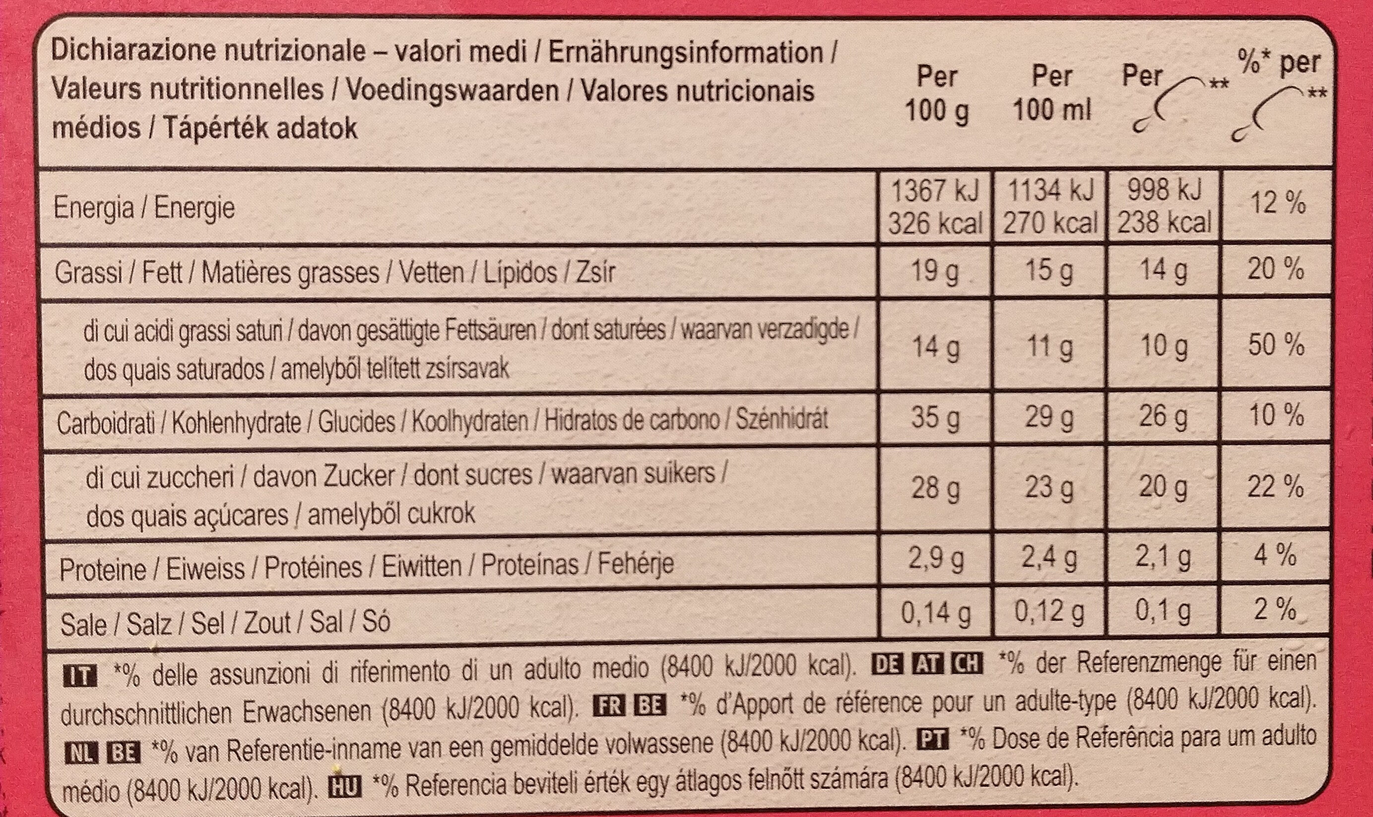 Magnum Batonnet Glace Double Framboise x4 352ml - Nutrition facts - fr