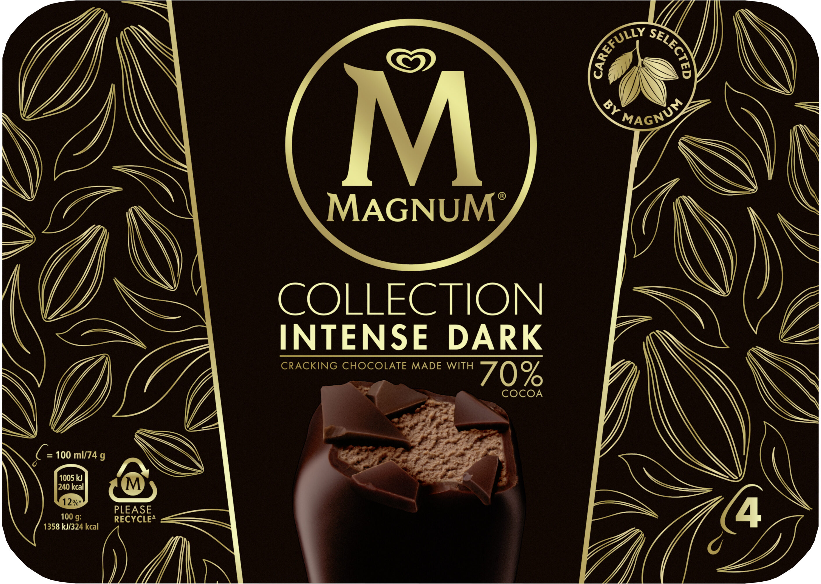 Magnum Batonnet Glace Intense Dark x4 400ml - Produit