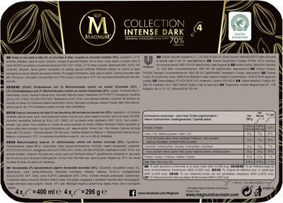Magnum Batonnet Glace Intense Dark x4 400ml - Informations nutritionnelles