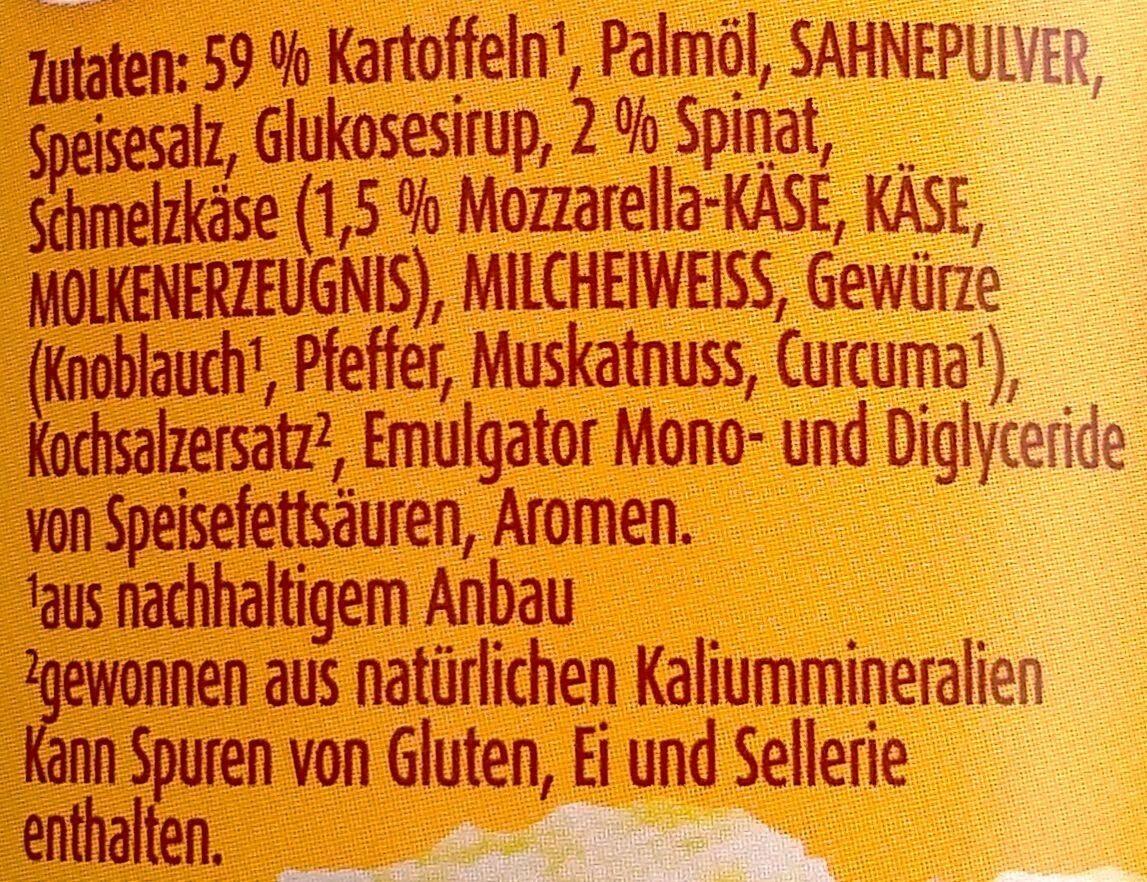 Kartoffelsnack mit Blattspinat & Mozarella - Zutaten - de