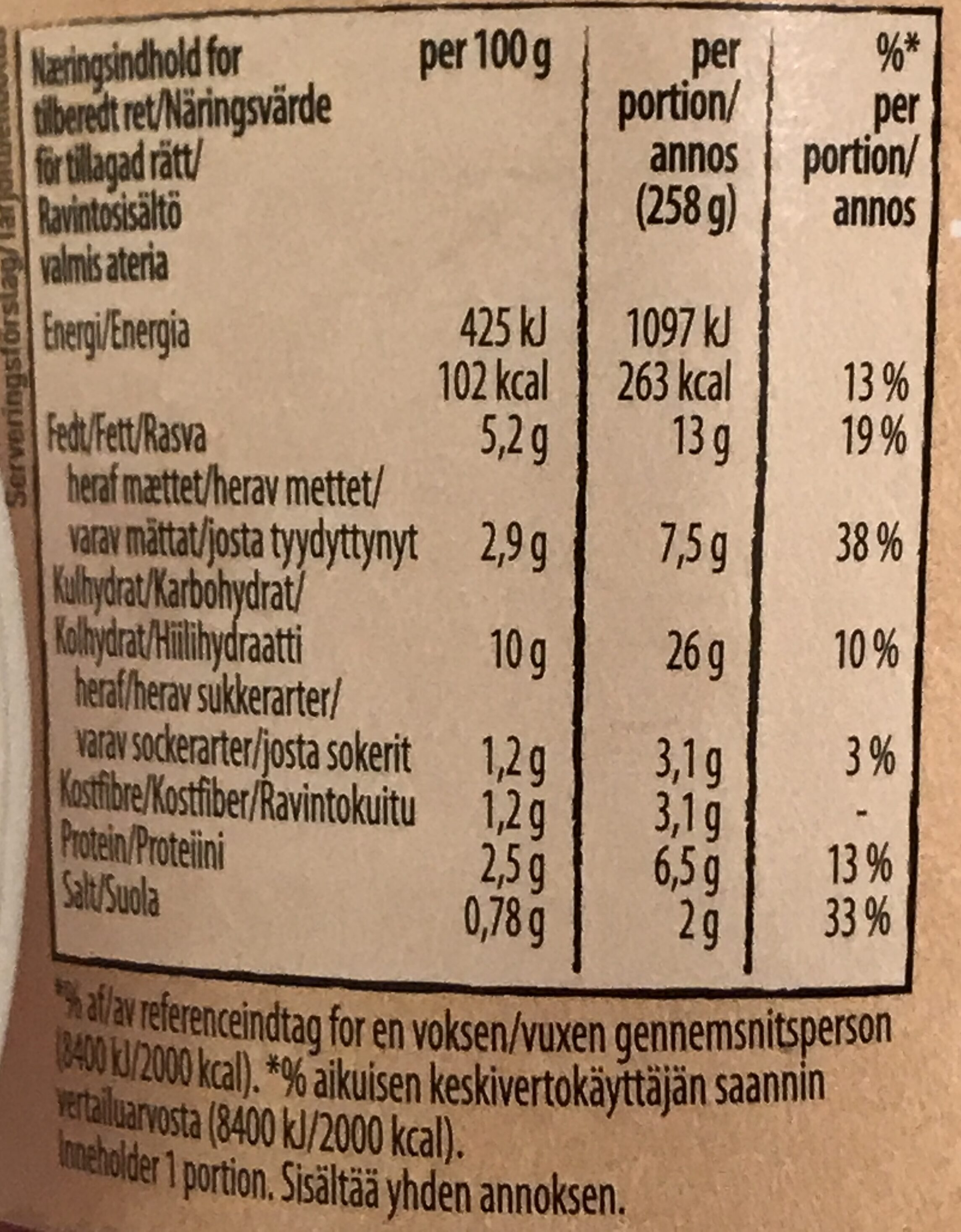 Bacon & Onion Potato Snack Pot - Informations nutritionnelles - sv