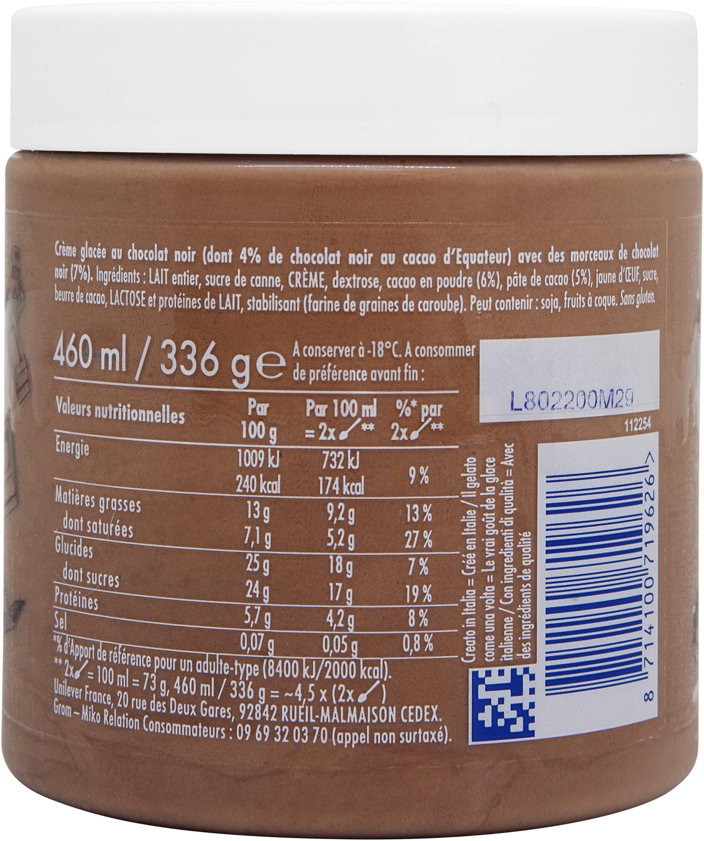 Grom Crème Glacée Pot Chocolat Noir 460ml - Voedingswaarden - fr