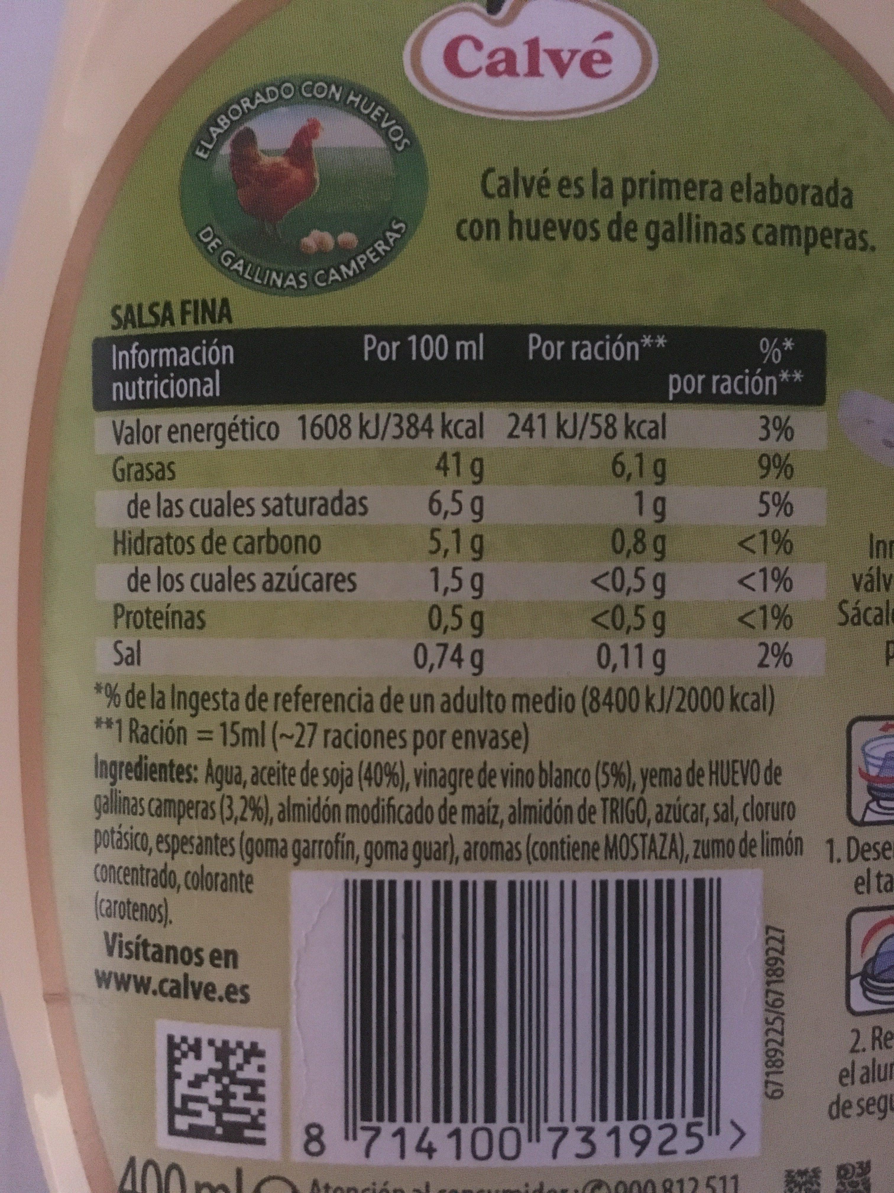 Calvé Sabor Casero - Ingrédients - es