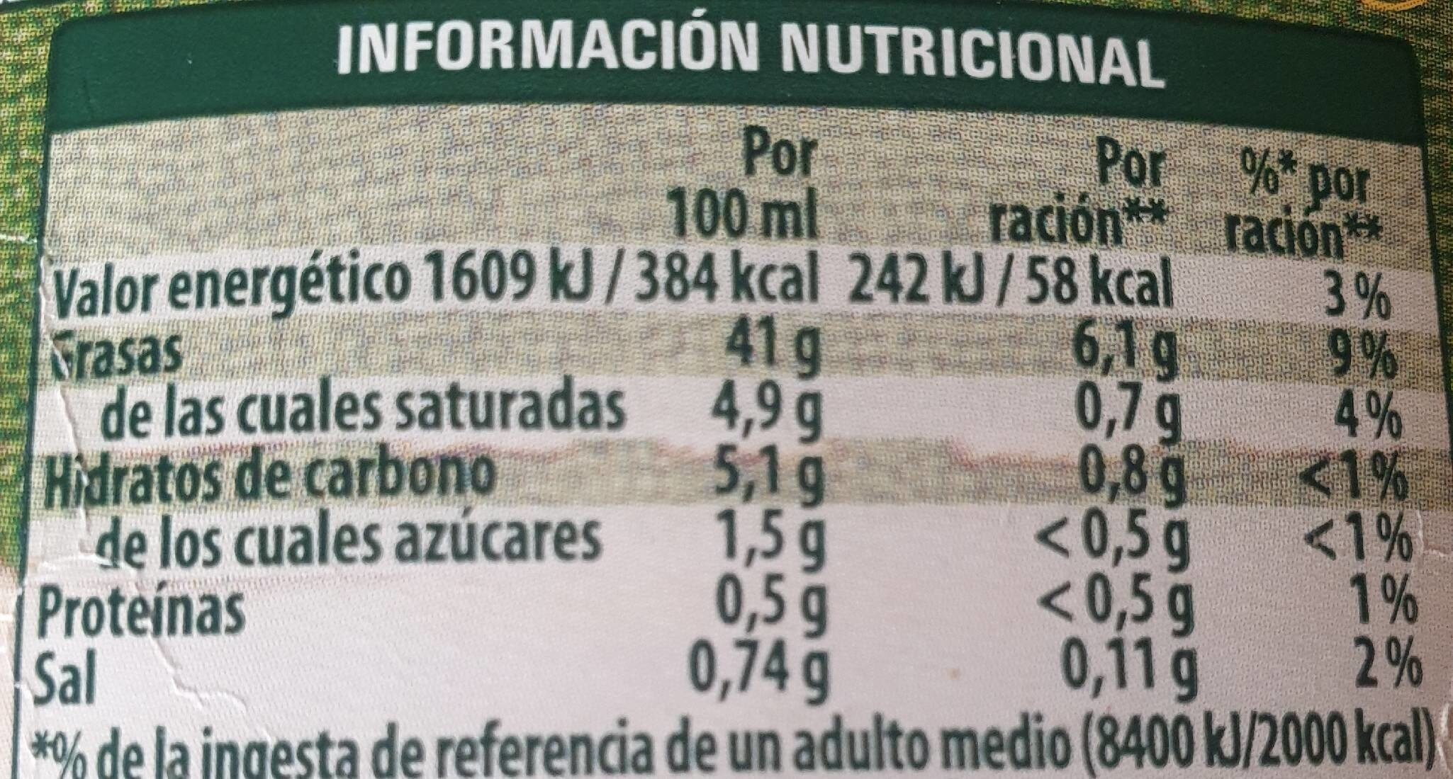 Calvé Sabor Casero - Nutrition facts - es